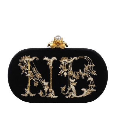 Black Monogram Clutch 1