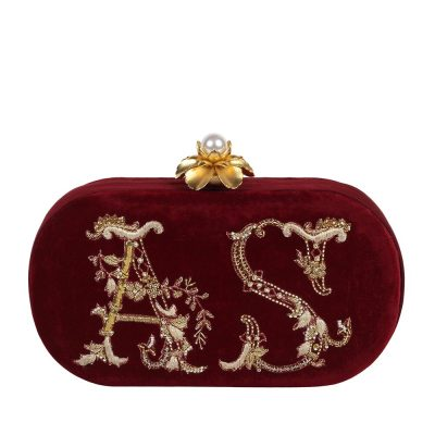 Wine Monogram Clutch 1