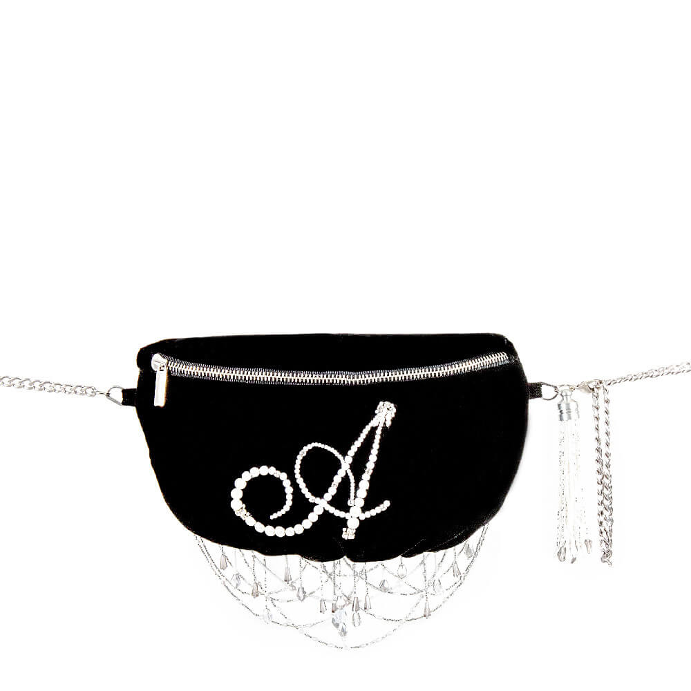 Black Monogram Pearl Fanny Pack Lovetobag
